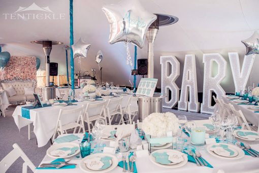 Stretch tent interior decor for gender reveal
