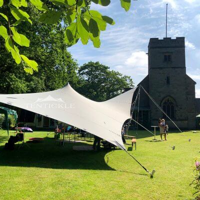 Stretch tent outside church