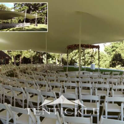 Wedding ceremony in a stretch tent
